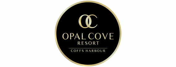 Opal Cove Resort black and gold logo